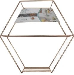 Prateleira Decorativa Hexagonal Rose Gold
